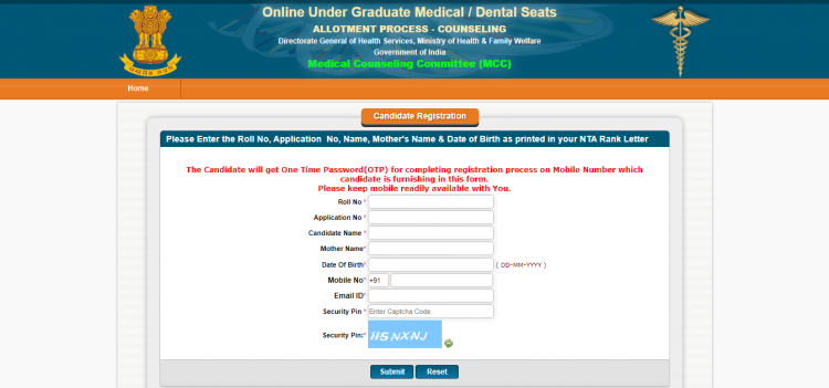 Schedule of Online Counseling for 2nd Mop-Up Round of UG (BDS) Seats-2021